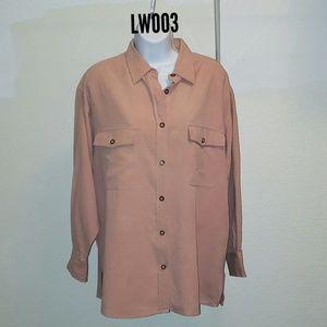 No.4 EXP Jeans Silk Long-Sleeve Polo Shirt - Coral